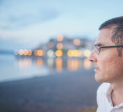 Pensive Man Profile Royalty Free Stock Photos