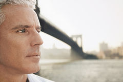 Pensive Man By River Stock Images