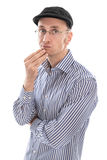 Pensive man. Student isolated as a Frenchman Royalty Free Stock Image