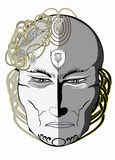 Pensive mask. Primitive man's mask with wires royalty free illustration