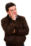 Pensive mature casual man Royalty Free Stock Images