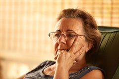 Pensive Mature Woman Stock Photos