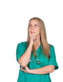 Pensive medical girl Stock Photo