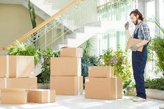 Pensive moving specialist counting delivered boxes stock image