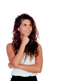 Pensive natural girl with curly hair Stock Images