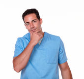 Pensive nurse man looking at you Stock Image