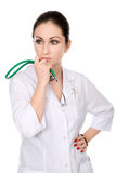 Pensive nurse with a stethoscope chin Royalty Free Stock Photos
