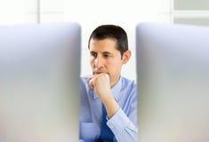 Pensive office entrepreneur Royalty Free Stock Photo