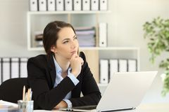 Free Pensive Office Worker Wondering Looking At Side Stock Images - 115010044