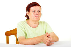 Pensive old woman Royalty Free Stock Photography