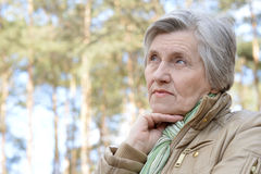 Pensive older woman Stock Images