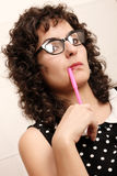 Pensive with a Pen Stock Images