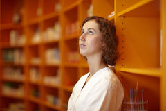 Pensive pharmacist Stock Images
