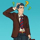Pensive Pop Art Businessman Making Decision. Vector illustration Stock Photography