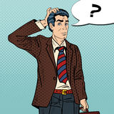 Pensive Pop Art Businessman Making Decision. Vector illustration Royalty Free Stock Images