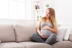 Free Pensive Pregnant Woman Dreaming About Child Stock Photography - 100204392