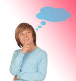 Pensive preteen boy Stock Photo