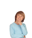 Pensive preteen boy. Isolated on a over white background Stock Photography