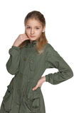 Pensive preteen girl in the jacket Royalty Free Stock Images