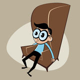 Pensive retro cartoon man Royalty Free Stock Images