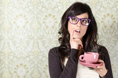 Free Pensive Retro Woman Decision Royalty Free Stock Image - 33700816