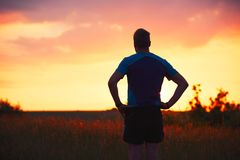 Pensive runner at the sunset Royalty Free Stock Photo