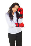Pensive sad executive with boxing gloves Stock Image