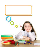 Pensive school girl Royalty Free Stock Images