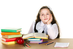 Pensive schoolgirl Royalty Free Stock Photo