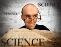 Pensive scientific mathematician Stock Images