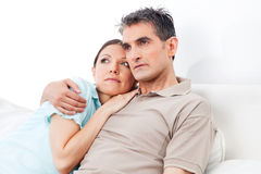 Pensive senior couple thinking Royalty Free Stock Photo