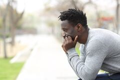 Free Pensive Serious Black Man Looking Away On A Park Royalty Free Stock Image - 177754746
