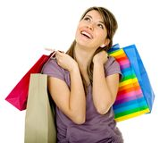 Pensive shopping girl Stock Photography