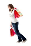 Pensive shopping woman Stock Images