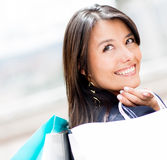 Pensive shopping woman Royalty Free Stock Photography