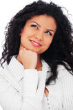 Pensive smiley woman looking up Royalty Free Stock Photos