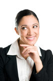 Pensive smiling business woman Stock Image