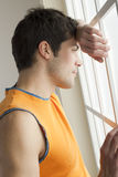 Pensive sportsman Stock Images