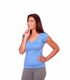 Pensive sporty senior woman in gym clothing Royalty Free Stock Photography