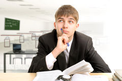Pensive student Royalty Free Stock Photo