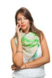 Pensive Stylish Pretty Woman Touching her Face Royalty Free Stock Photos