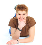 Pensive stylish young man Stock Photos