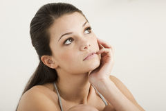 Pensive teenage girl. Close-up royalty free stock images