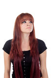 Pensive teenage girl dressed in black with a piercing Royalty Free Stock Photos