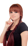 Pensive teenage girl dressed in black with a piercing Stock Photo