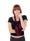Pensive teenage girl dressed in black with a piercing Stock Image