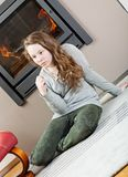 Pensive teenager girl royalty free stock photos