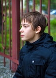 Pensive Teenager outdoor. Pensive Kid Portrait on the City Street royalty free stock photos
