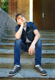 Pensive Teenager outdoor Royalty Free Stock Photo