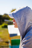 Pensive Teenager outdoor. Pensive Teenager Portrait on the City Street royalty free stock photos